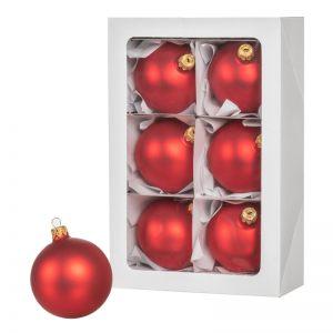 Bombki choinkowe czerwone 6 szt. 8 cm